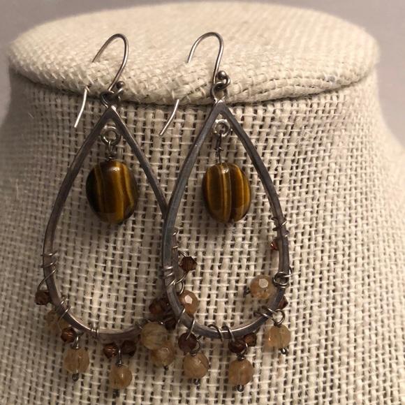 Vintage sterling tigers eye stone dangle earrings